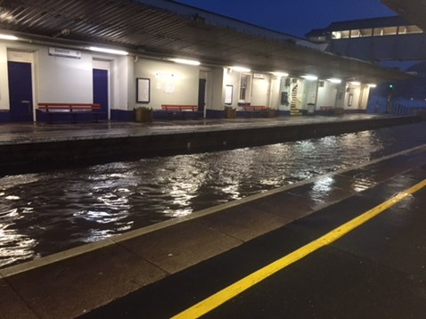 Dawlish station morning of 2 March 2018