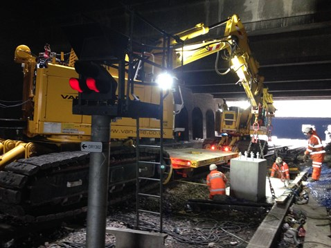 Electrification work on the Chase line between Walsall and Rugeley Trent Valley