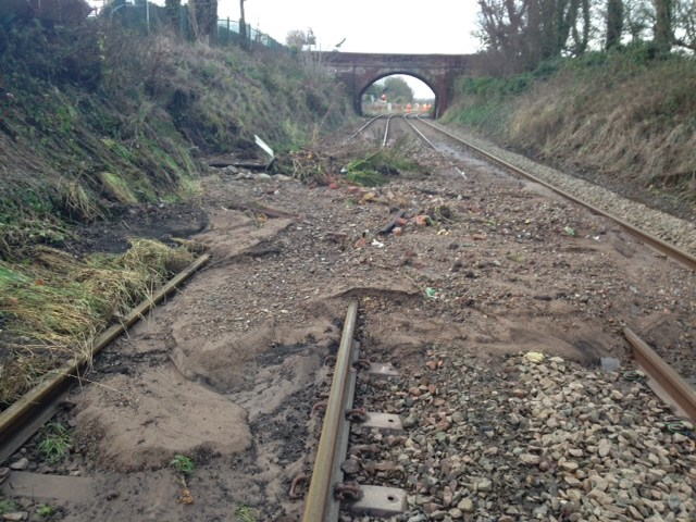 Landslips and flooding on Carlisle to Workington line with more bad weather on the way: Maryport landslip between Carlisle and Workington