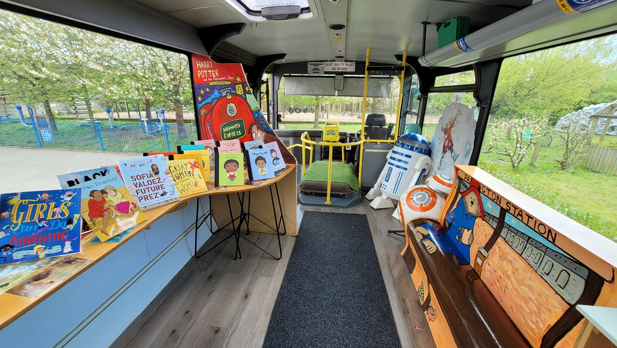 St Stephen's yellow school bus 4: A decommissioned yellow school bus, donated by TfGM to St Stephen's Primary School in Droylseden in 2019. The school turned the bus into a reading and tutoring place.