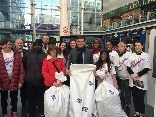 Manchester Piccadilly hosts week of events to help the city's homeless this winter: Greater Manchester Mayor Andy Burnham at launch of 'Wrap up Manchester' outside Manchester Piccadilly station on 12 November 2018