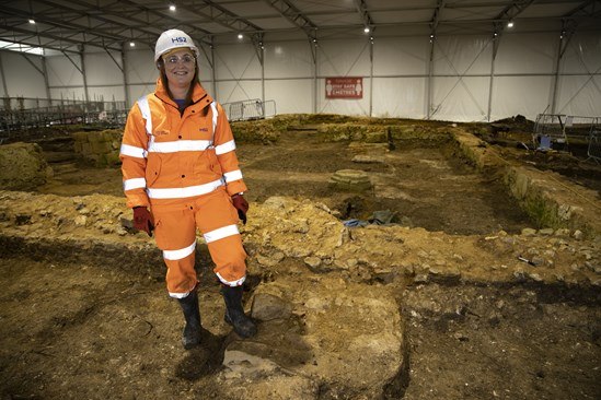 Dr Rachel Wood at St Mary's Church archaeological site, Stoke Mandeville: The remains of a medieval church in Stoke Mandeville are being excavated by archaeologists working on the HS2 project.  Tags: Archaeology, St Mary's, Stoke Mandeville