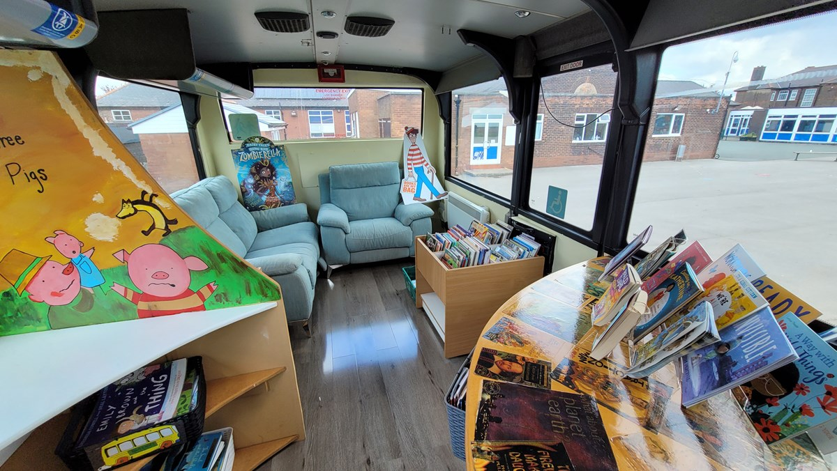 St Stephen's yellow school bus 2: A decommissioned yellow school bus, donated by TfGM to St Stephen's Primary School in Droylseden in 2019. The school turned the bus into a reading and tutoring place.