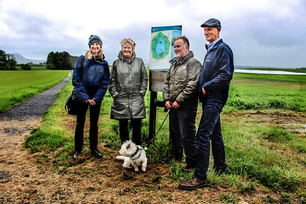 100 miles of new paths celebrated across Scotland: Paths Francesca Osowska Chief Exec SNH Cab Sec Dave Alston dogwalker Robin Niven Landowner