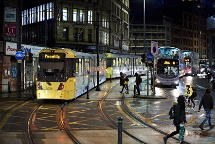 Tram and bus near Shudehill