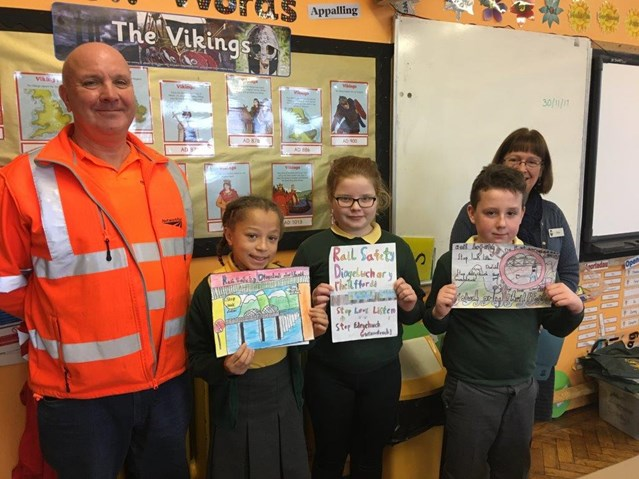 Christmas comes early for rail safety poster winners: 1st, 2nd and 3rd prize winners from Ysgol  Y Traeth in Barmouth