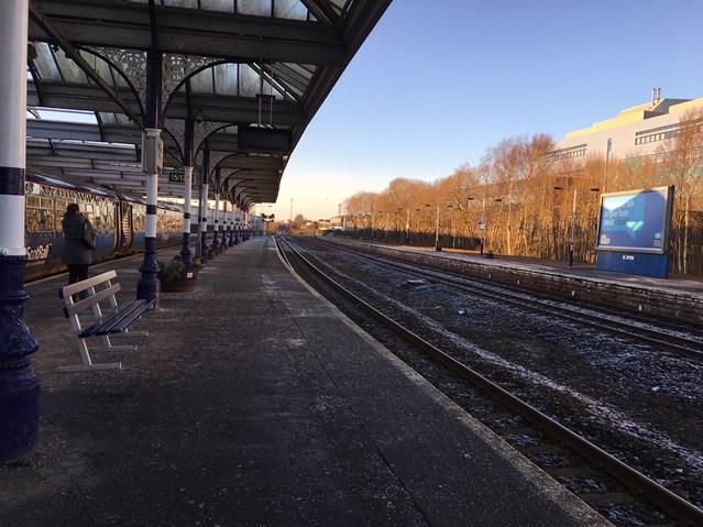 Kilmarnock Station accessibility improvements in site: Kilmarnock Station platform 3