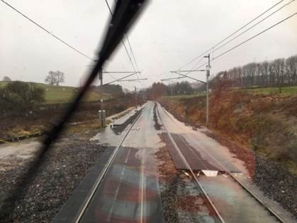 Storm Ciara - Widespread disruption to Northern services: Flooding Little Strickland