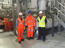 MP visits site that will power the north's railway revolution: Neil Hancock, Network Rail; Jonathan Reynolds, MP for Stalybridge and Hyde; and Jonathan Heap, National Grid, at the new electricity substation in Stalybridge.