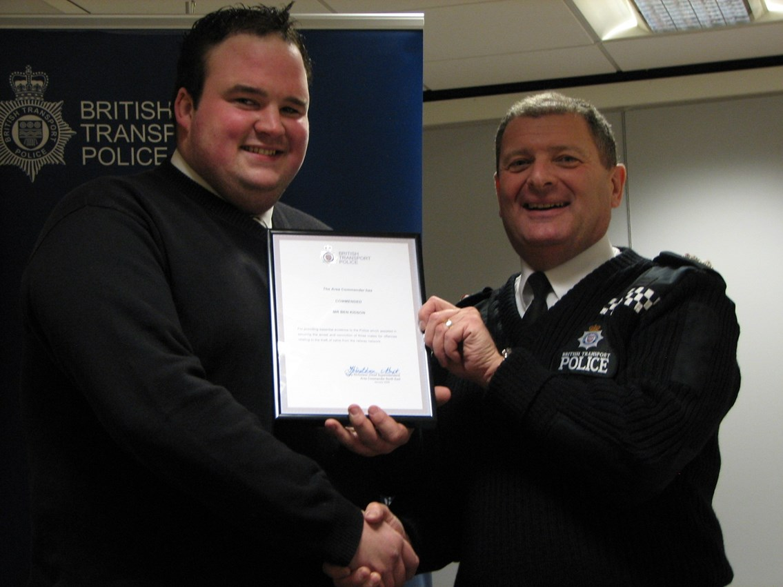 Cable theft commendation presentation: Ben Kidson and Chief Supt Terry Nicholson