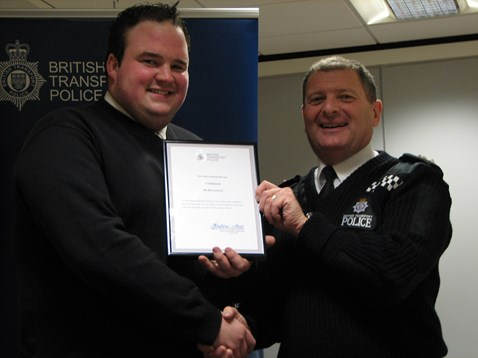 Cable theft commendation presentation