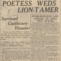 Poet Weds Lion Tamer: Photo courtesy and copyright of The British Newspaper Archive.