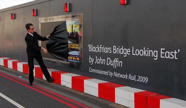 John Duffin unveiling his commissioned artwork