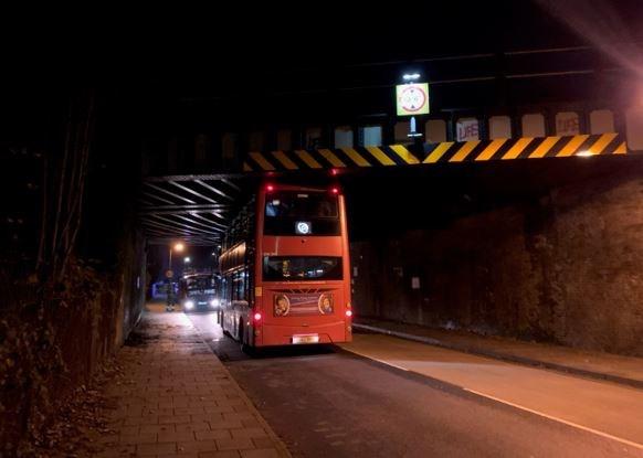Bus hits bridge at Kent House, SE London on December 12, 2020