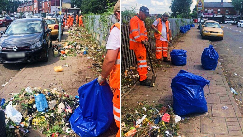 What a load of rubbish: rail workers tackle Birmingham fly-tippers: Cherrywood Road during Network Rail litter pick