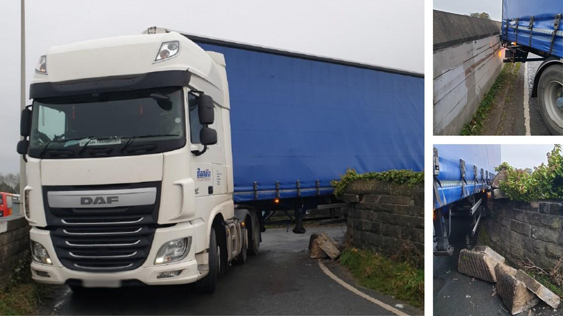 Lorry wedged on railway bridge for five hours causes delays to passengers: Composite of Burrow Road bridge strike in Galgate