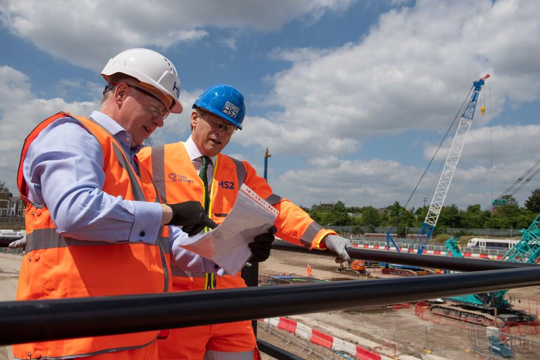 Old Oak Common Start of construction work: Transport Secretary Grant Shapps meets Mark Thurston and Matthew Botelle before signaling the start of main construction work on HS2's Old Oak Common station