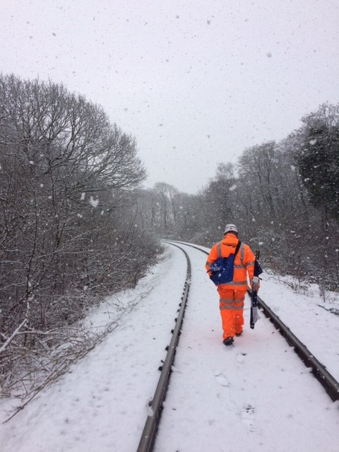 Rhys Hughes at work: Rhys hard at work during the snowy weather earlier this year