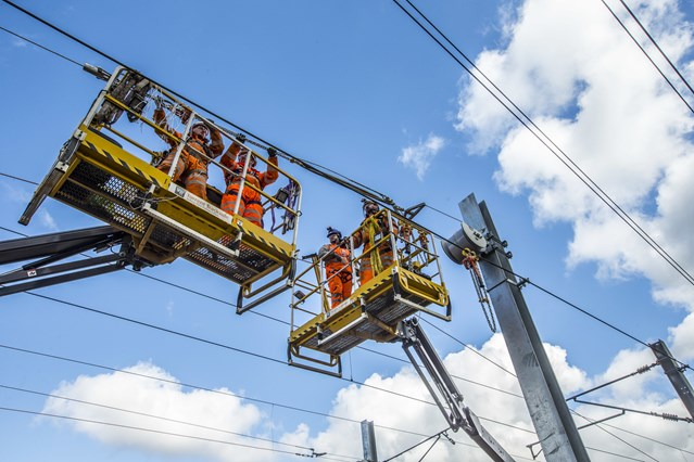 First section of Stirling-Dunblane-Alloa electrification delivered: 25 April Wires two mewps