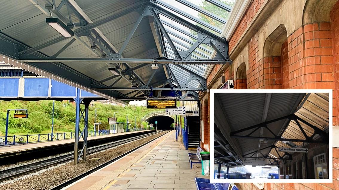 Edwardian era station improved for 21st century Chiltern passengers: Gerrards Cross station upgrade new vs old (inset)