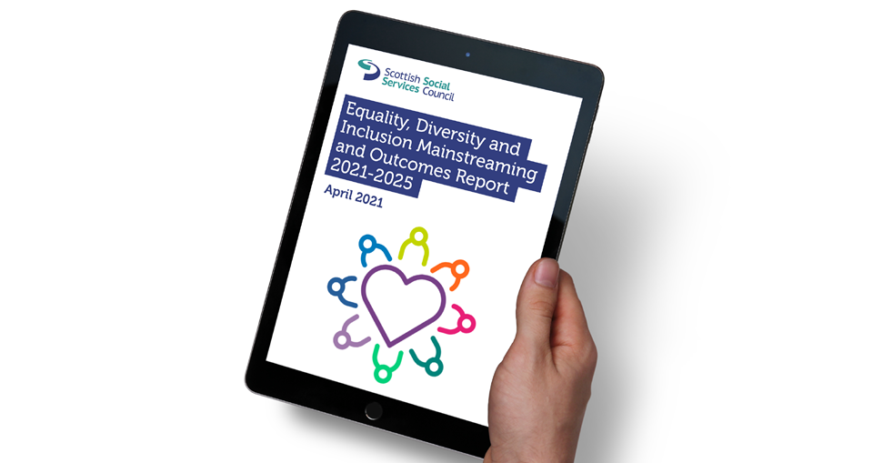Equalities Mainstreaming Report cover image shown on a tablet screen.