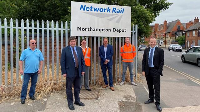 Major investment into Northampton railway depot of the future: Group shot of Chris Heaton-Harris MP opening Northampton depot