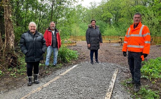 Lending a hand: Railway staff help build new sensory garden for Pontarddulais community: Coed Bach park_Grovesend
