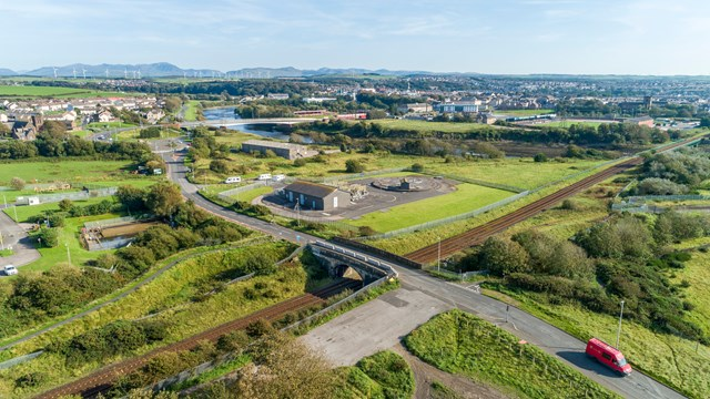 Port of Workington railway bridge upgrade to benefit passengers and local economy: Drone shot of existing Siddick Bridge serving the Port of Workington summer 2020