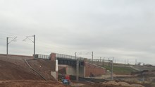 The completed Norton Bridge flyover over the West Coast mainline