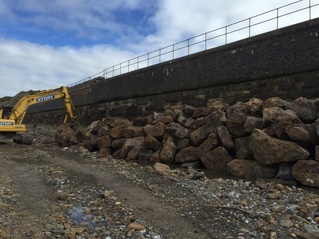 Cumbrian Coast line defences bolstered with 15,000 tonne 'rock armour' to protect railway: Parton sea defence work 2