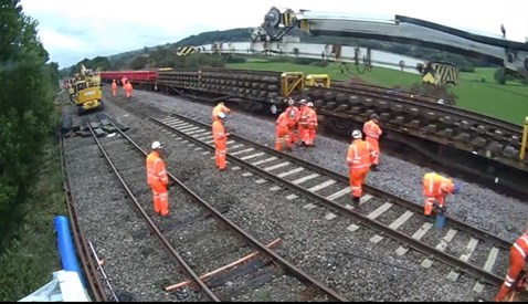 Rail services resume as multimillion-pound project to railway in Derbyshire successfully completed: Photo shows work taking place on major project at Ambergate Junction