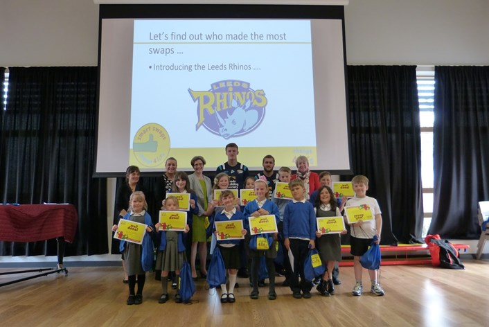 Youngsters learn from Rhinos how smart swaps mean healthy habits: smartswapsmorleynewlandsg020615.jpg