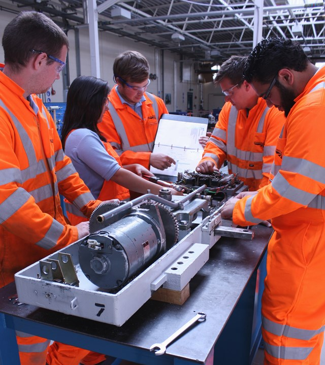 Network Rail apprentices in the workshop
