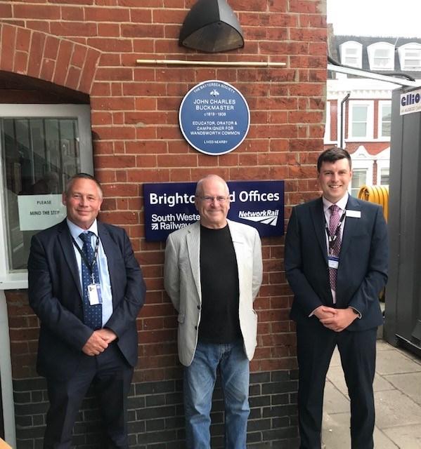 Wandsworth Common saviour gets a plaque at Clapham Junction: John Charles Buckmaster blue plaque 3jpg