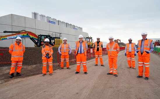 Prime Minister, Boris Johnson visits Interchange September 2020: Credit: Pippa Fowles / No10 Downing Street Prime Minister Boris Johnson visits one of the largest HS2 construction sites, the HS2 Interchange Site, Birmingham. HS2 announce the creation of 22,000 jobs. Also pictured Solihull MP Saqib Bhatti  Internal Asset No. 18403