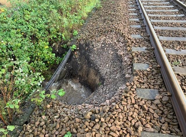 Landslip damage at Burscough