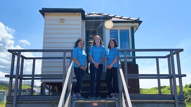 Becki, Amy and Holly at Sellafield signal box