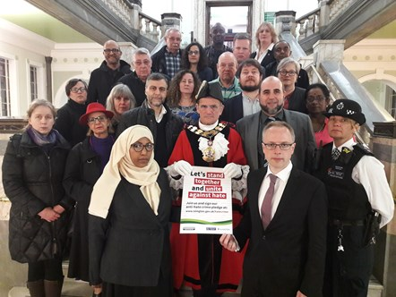 Islington Council formally adopts APPG definition of Islamophobia: Front: Deputy Mayor of Islignton Cllr Rakhia Ismail; Mayor of Islington Cllr Dave Poyser; Islignton Council Leader Richard Watts.   Group:  •	Mohammed Kozbar, Chairman of Finsbury Park Mosque •	Toufik Kacimi, CEO of Muslim Welfare House •	Detective Constable Fleming, Islington Police •	Members of the Islington faith forum including Chair and Buddhist representative Elizabeth Chappell, Hindu representative Thaya Ranjan, Methodist representative Sally Rush •	Tessa Havers-Strong (Camden LGBT Forum) •	Colin Adams, Hate Crime Forum •	Roger Delia, Chair of Islington Safer Neighbourhood Board •	Islington Councillors.
