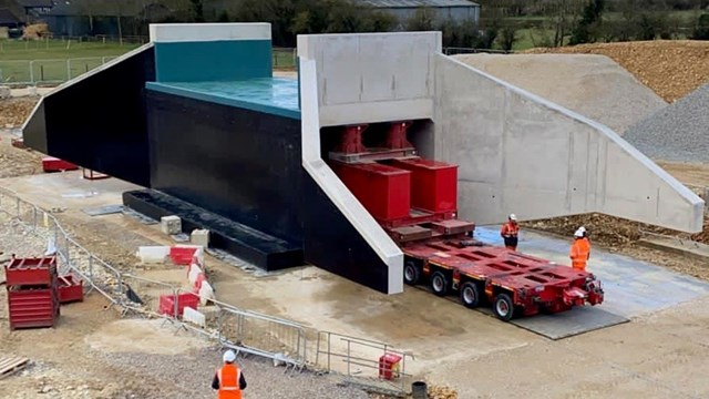 Underpasses burrowed beneath Bicester railway this Easter: Precast concrete pedestrian railway underpass ready to be installed in Bicester