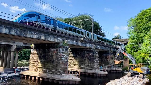 Eden viaduct with Transpennine Express passing over the top