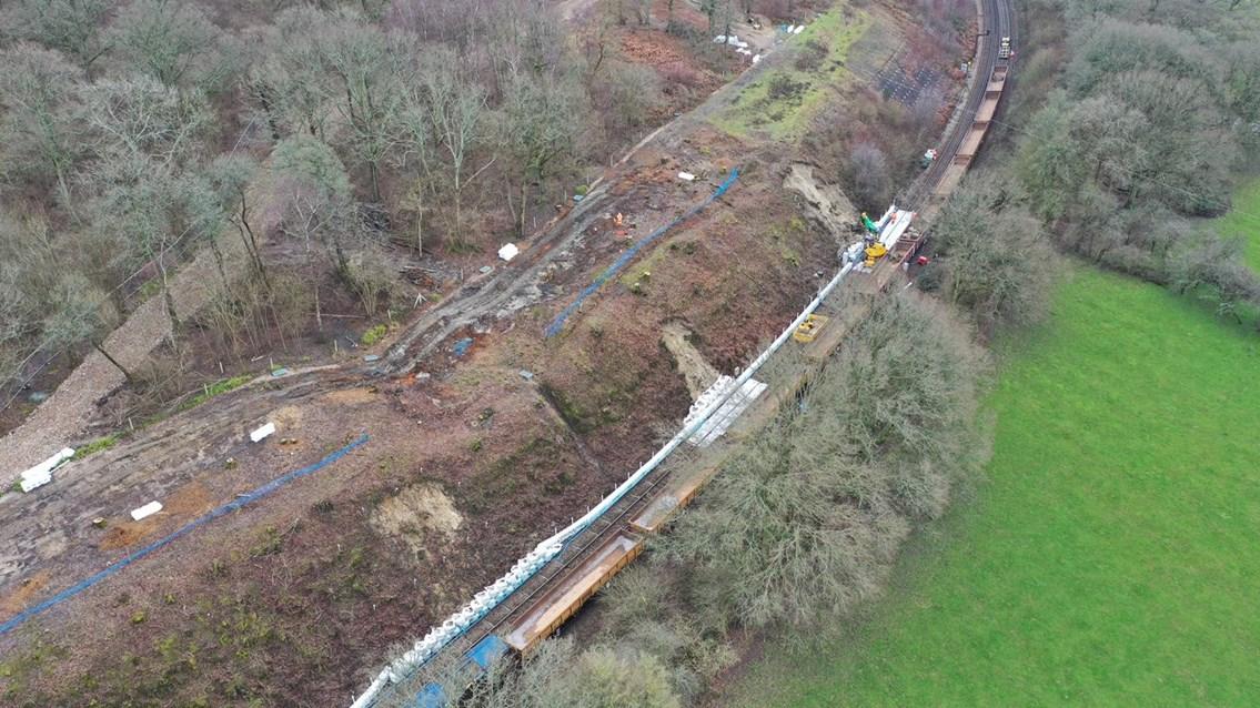 Tunbridge Wells to Tonbridge railway closed until 20 February for landslip repairs: High Broom 1
