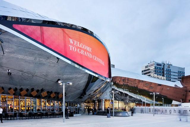 Media eye close up: Birmingham New Street  railway station train station Grand Central Shopping centre