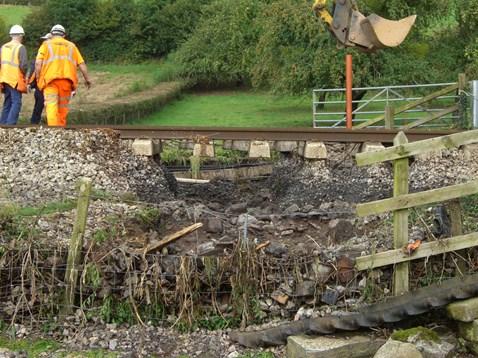Track badly damaged by flood