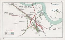 Bermondsey: Railway Clearing House map of the Bermondsey area, showing Southwark Park's location and the tangle of railways