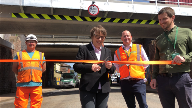 Maria Eagle MP cuts the ribbon at Garston Road bridge reopening on June 28 2019