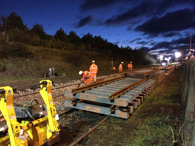 Significant progress made on £68million upgrade of the Wherry lines: NYL New track panels ready for install