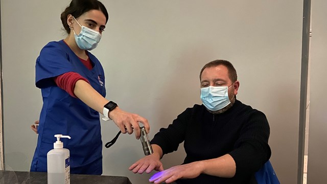 Station staff swap passengers for patients in Covid jab effort: Euston station customer service assistants Layla Cardoso and Dave Allen in Covid vaccination training