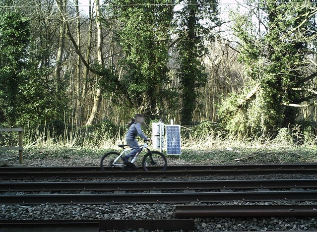 Shocking CCTV footage shows kids risking their lives on the railway in Yorkshire: Child cycling on the railway in Shipley, Bradford