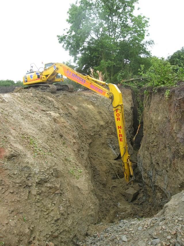 Bosty Lane Landslip 2: Engineering to clear up landslip in Bosty Lane