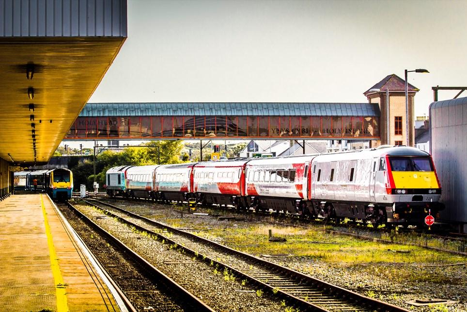 Cardiff-Holyhead intercity train at Holyhead: Photo: Robert Mann